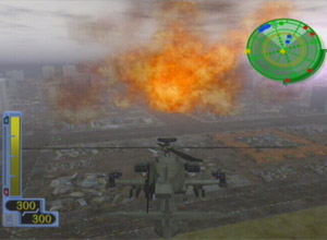 Flying high over an explosion in a helicopter.