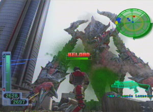 A giant Godzilla type enemy prepares to attack as the gun reloads.