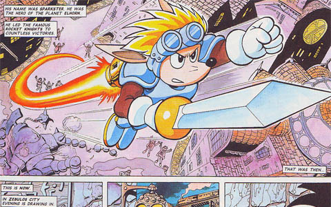 Sparkster flies upwards in the Rocket Knight Adventures comic.