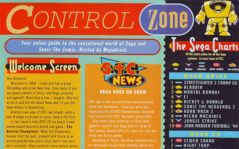 The control zone of the comic contains sales charts, the Megadroid intro and other SEGA-related news.