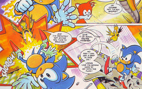 Sonic and Tails grapple with an enemy in the Chemical Plant Zone.