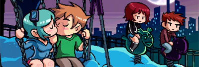 A screenshot from Scott Pilgrim, Scott and Ramona kiss as the rest of the cast looks on.