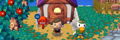 My house in the summer, complete with Pete delivering a letter.