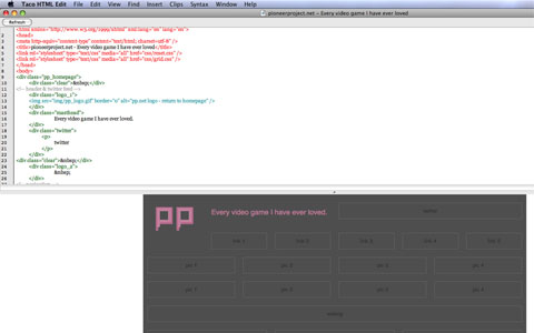 Coding of the grid layout begins in Taco HTML Editor.