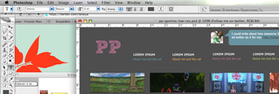 Initial high-visual design in Photoshop.