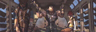 The four Borderlands characters on the starting bus.