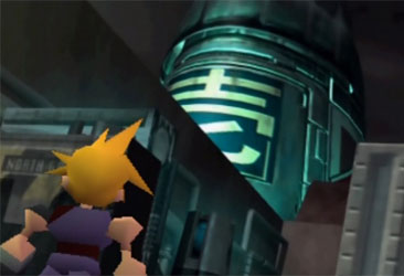 Cloud looks up at the Shinra headquarters.