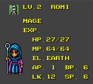 Romi's stat screen and avatar.