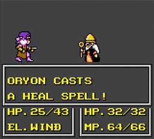 A battle screen. Oryon heals a teammate.