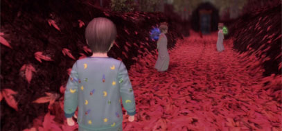 A young York walks through a red forested corridor.