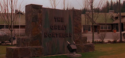 A shot of the Great Northern Hotel sign.