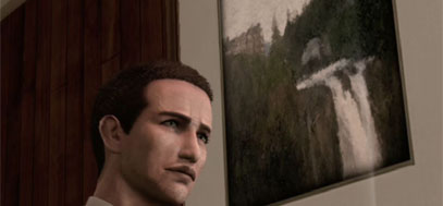 A painting on Twin Peaks's Great Northern hotel above York's bed in Deadly Premonition.