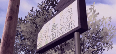 The sign for the A & G diner.