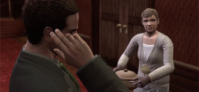Deadly Premonition's pot lady - Sigourney -  holding her famous pot.