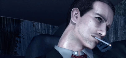 York's introduction scene in Deadly Premonition, as he smokes on the phone while driving a car.