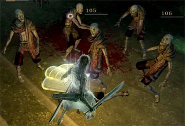 Fighting five of Latria's prisoners in soul form.