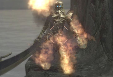A gold skeleton stands guard - while on fire.