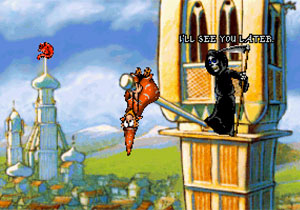 Rincewind hangs upside down from a flagpole while Death looks on.