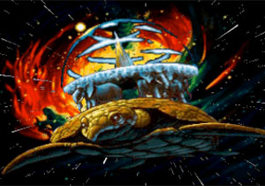 A'Tuin flies through the space.