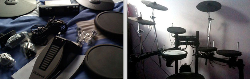 The Roland kit in parts, and the finished drumkit!