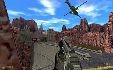 Half Life screenshot - A helicopter flies over a dam