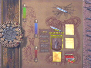 A typical menu screen, utilizing the look of the Tome of Eternal Darkness.