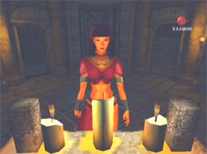 Ellia stands partially lit by some candles.