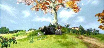 Lucas sits solemnly under a bright landscape.