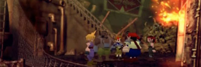 The members of AVALANCHE stand in a group in a famous scene from Final Fantasy 7.