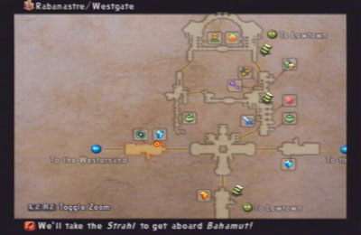 A map of Rabanastre from FF12 with journal help at the bottom.