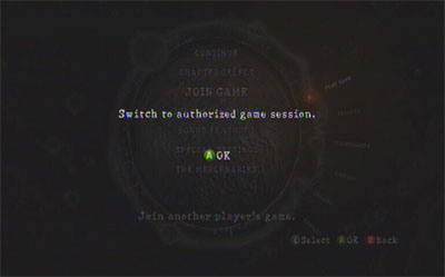 An unhelpful Resident Evil 5 screen asks you to switch to an authorized game session.