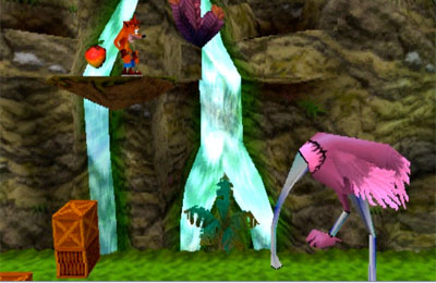 One of the familiar side-scrolling sections of Crash Bandicoot 2.
