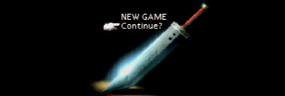 Cloud's buster sword on the title screen of Final Fantasy 7.