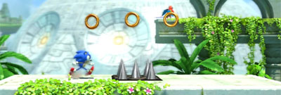 Retro Sonic running through Sky Sanctuary with the Death Egg in the background.