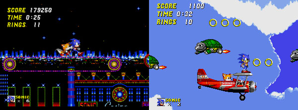 Sonic and Tails in the Casino Night Zone and flying using a biplane.