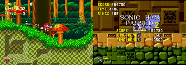 Knuckles running through the Mushroom Hill zone, and Sonic 1's pass screen.