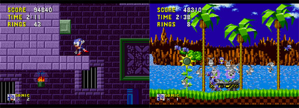 The first two zones from the original Sonic game.