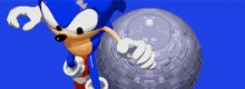 Sonic leaps down from the sky with the Death Egg in the background.