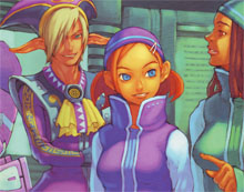 Three PSO characters meet in a shop on Pioneer 2.