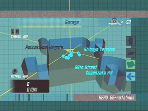 A sample map view of the Garage, showing it's hub area and characters on screen.