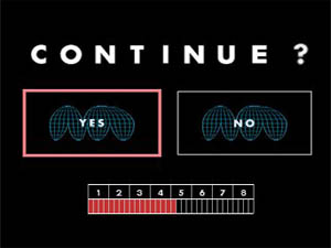 The game over screen asks if you wish to continue.
