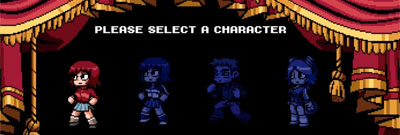 The Scott Pilgrim vs. the world character select screen with player one selected.