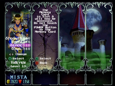 A two player character management screen.