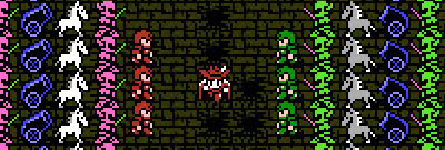 A sprite army surrounds a red mage in Final Fantasy 1.