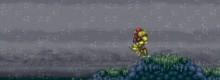 Samus Aran runs through a barren planet world.