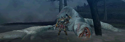 Standing next to a defeated Khezu whilst cheering.