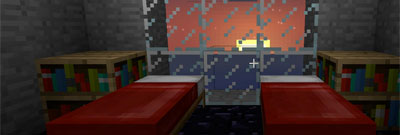 Two beds overlooking a Minecraft sunrise through a glass window.