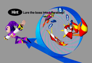 A grey hint screen describing how to beat the boss with a paraloop.