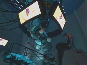 GLaDOS's screen shows a piece of cake.