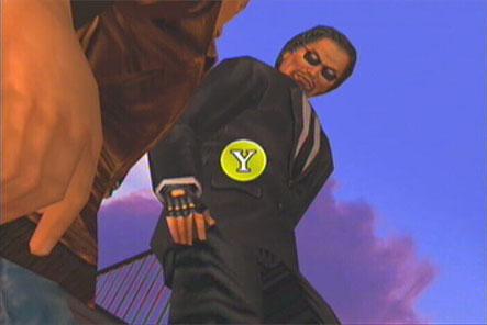 A black suited man attacks Ryo, press Y to attack.